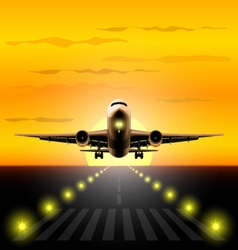 Airliner landing at sunset vector image vector image