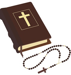 Bible and rosary vector image