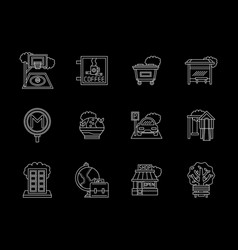 city flat line icons set vector image vector image