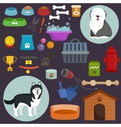 Dog icons flat set with dung kennel leash food vector image