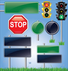 empty road sign and traffic light set vector image vector image