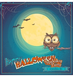 Greeting Card Halloween with owl on background of vector image