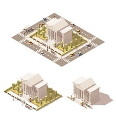 isometric low poly museum building icon vector image vector image