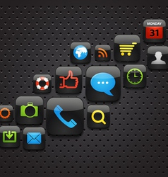 Mobile interface icons abstract background vector image vector image