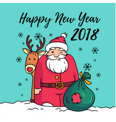 template of happy new year 2018 card with santa vector image