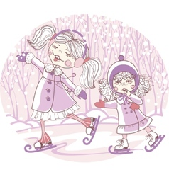 two girls skate vector image vector image