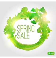 watercolor spring splash banner with leaves vector image vector image