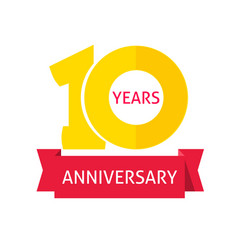 10 years anniversary logo with red ribbon vector image