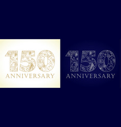 150 anniversary vintage silver gold vector