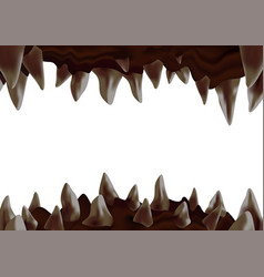 3d monster open mouth with crooked sharp teeth vector
