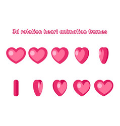 3d valentine day love red heart rotation animation vector