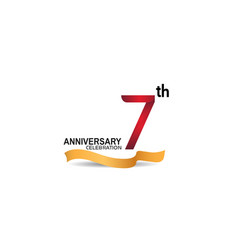 7 anniversary design logotype red color vector