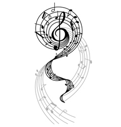 Abstract musical swirl with notes and sounds vector