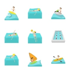 Active water sport icons set cartoon style vector
