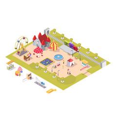 amusement park attractions flat isometric vector image