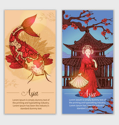 Asia hand drawn vertical banners vector