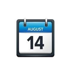 August 14 Calendar icon flat vector image