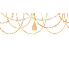 Background with golden metallic necklace tassel vector
