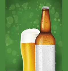 beer glass and bottle with blank label vector image