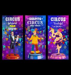 big top tent circus funfair carnival show clowns vector image
