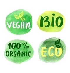 Bio natural food concept Set of labels vector