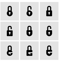 Black locks icon set vector