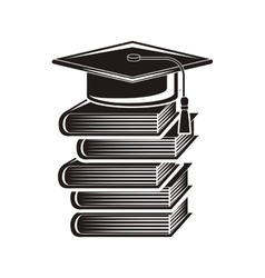 black silhouette graduation cap with stacked books vector image