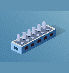 Building isometric 3d dimensional factory industry vector