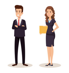 Business couple isometric avatars vector