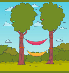 cartoon nature background hammocks on a tree vector image