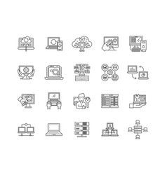 computer and data processing service line icons vector image