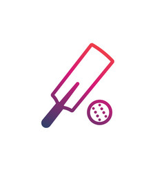 cricket bat and ball icon on white vector image