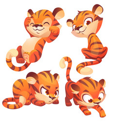 Cute baby tiger character sleep and sneaks vector
