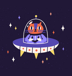 Cute cat astronaut traveling in outer space vector