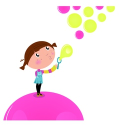 cute little kid blowing soap bubbles vector image