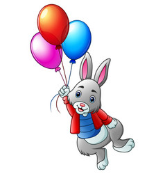 Cute rabbit flying with balloons on a white backgr vector