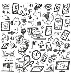 Devices computers - doodles set vector