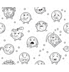 earth emoji characters endless background in vector image