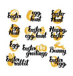 Easter holiday hand drawn quotes vector