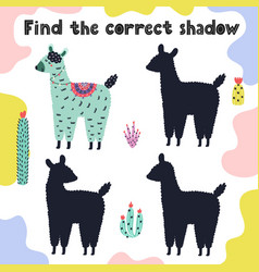 find correct shadow activity page with funny vector image