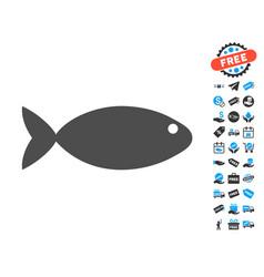 Fish flat icon with free bonus elements vector