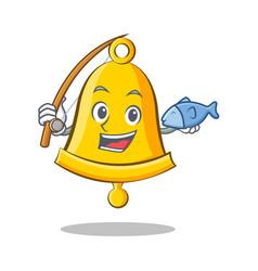 Fishing school bell character cartoon vector