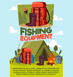fishing sport equipment and items vector image
