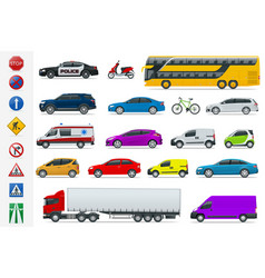 Flat high-quality city transport cars and road vector