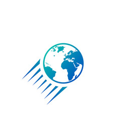 flying globe icon logo isolated on white vector image