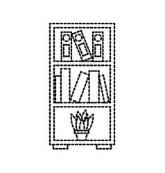 Furniture bookcase books folder and pot plant vector