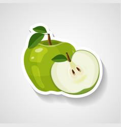 green apple sticker cartoon vector image