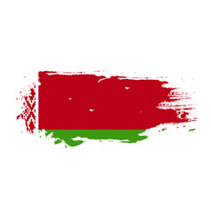 grunge brush stroke with belarus national flag vector image