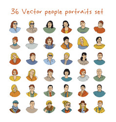 happy adult people potraits icon set vector image