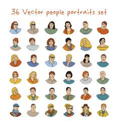 Happy adult people potraits icon set vector